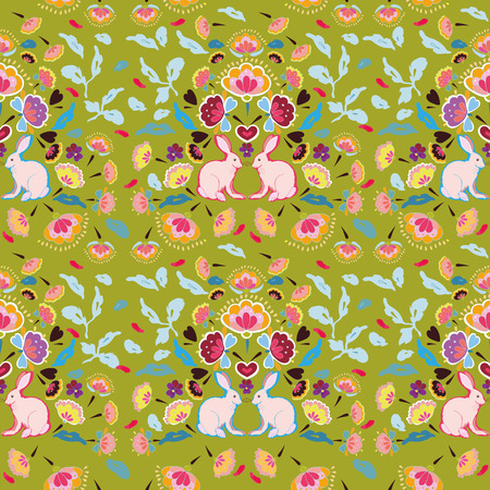 Green folk art floral repeat pattern with rabbit. Surface pattern design.