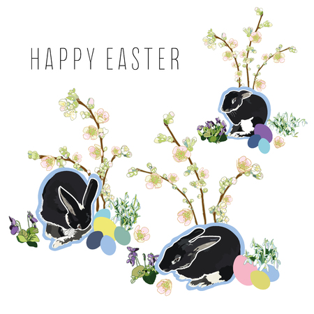 Easter illustration with snowdrop, violet, black rabbits and pastel easter egg. Surface pattern design. Package design.