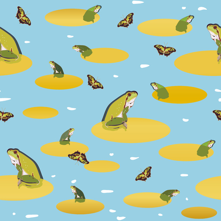 Blue vector repeat pattern with pond, golden leaf, green frog and butterfly. Naturalistic style.