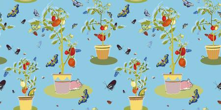 Blue seamless vector garden pattern with plum tomato plant, butterfly, frog, mouse and ladybug.. Reklamní fotografie