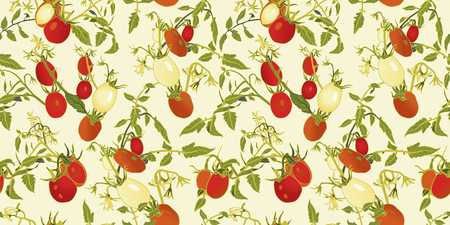 Cream vector repeat pattern with red tomatoes, blossoms and branches.Novelty pattern. Kitchen. Illustration