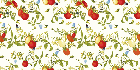 White vector repeat pattern with red tomatoes, blossoms and branches., tomato plant and buttrfly. Novelty pattern. Kitchen.