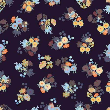 Black vector repeat pattern with small florals. Romantic summer fabric. Illustration