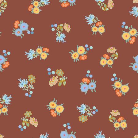 Patrón de repetición de vector marrón con flores pequeñas. Tejido de verano romántico.