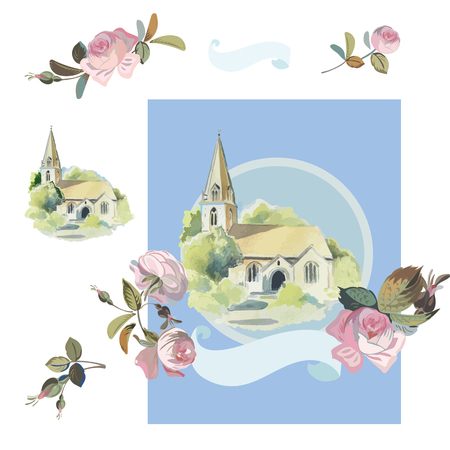 Wedding vector illustration with old chappel, vintage roses and banner. Ilustración de vector