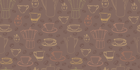 Brown pattern with cup, coffee pot, shugar bowl and coffee bean. Restaurant, coffee house. Surface pattern.