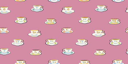 Pink vector repeat pattern with historic tea cup. Pastel colors. Romatic.