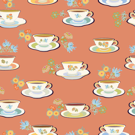 Pink vector repeat pattern with historic tea cup, sugar bowl and flower. Pastel colors. Romatic high tea. Ilustração