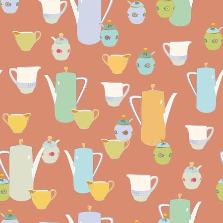 Elegant beige breakfast pattern with porcelain and coffee pot. Breakfast, bar, hotel. Surface pattern design. 일러스트