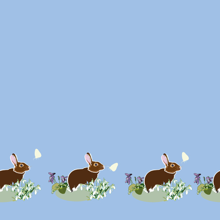 Blue vector repeat pattern with brown bunny and butterfly. Surface pattern design. Package design.