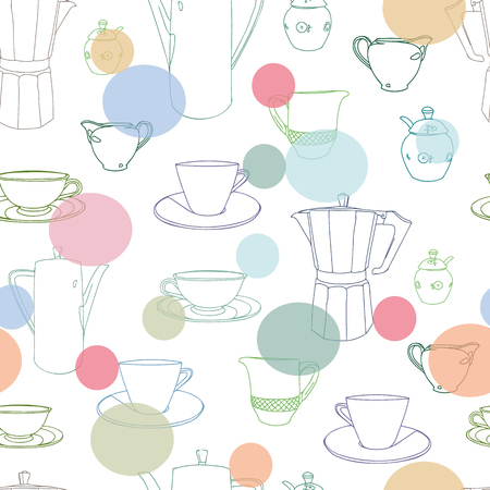 White vector repeat pattern with cup, coffee pot, shugar bowl and pastel dots. Restaurant, coffee house. Surface pattern. 일러스트