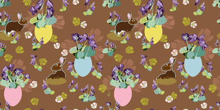 Brown vector repeat pattern with violet, cherry blossom, pastel easter egg and bunny. Surface pattern design. Package design. 일러스트