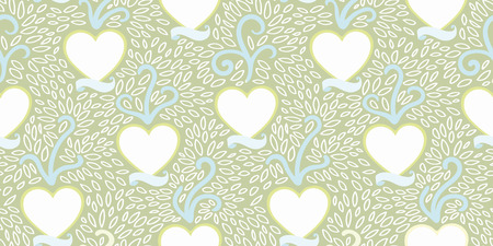 Green vector repeat vintage pattern with white heart and tatoo style banner and tree. Wedding, mothers day and valentine. 일러스트