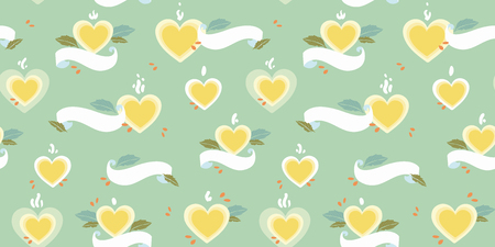 Green vector repeat pattern with yellow heart,and white banner. Retro look. Mothers day. 일러스트
