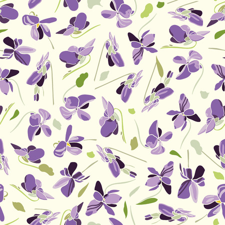 White vector repeat pattern with blue viola. Surface pattern design.