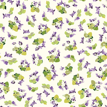 Cream vector repeat pattern with blue viola. Surface pattern design. 일러스트