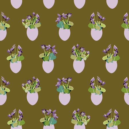 Green vector repeat pattern with blue viola and pastel yellow easter egg. Surface pattern design.