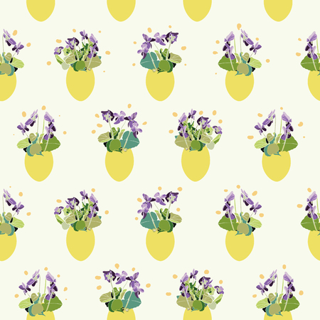 Cream vector repeat pattern with blue viola and pastel yellow easter egg. Surface pattern design. 일러스트