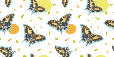White vector repeat pattern with realistic butterfly, circle and abstract leaf.