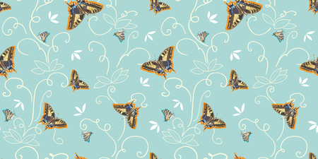 Turquoise vector repeat pattern with abstract plant, realsitic butterfly and petals. Surface pattern. Nature.