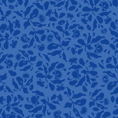 Royal blue folk art floral pattern with blossoms. Surface pattern design.