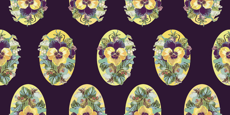 Purple vector repeat pattern with vintage flower bouquet, lilly of the valley, yellow pansy and retro florals. Perfect for events, weddings and romance. Textile projects. Surface pattern design.