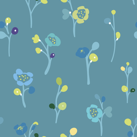Blue vector repeat pattern with small hand drawn doodle florals and green buds.