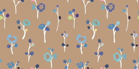 Brown vector repeat pattern with small hand drawn doodle florals. Perfect for paper and textile projects. Surface pattern design.