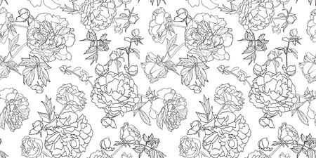 White vector repeat pattern with black outline peony florals. Japan inspired pattern. Perfect for paper and textile projects or events. Surface pattern design.