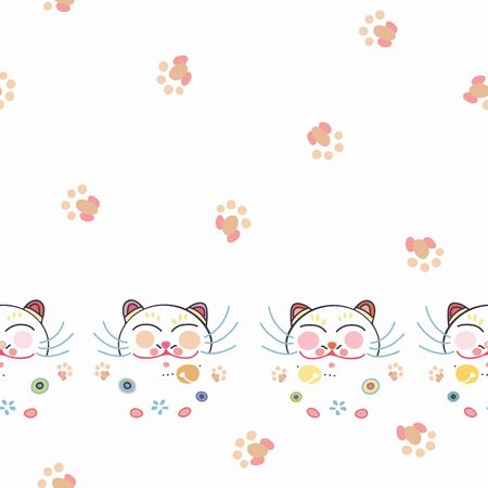 White vector repeat border with happy maneki neko cat face, paw print and pastel ornamental florals. Japan inspired pattern. Perfect for paper and textile projects or events. Surface pattern design.