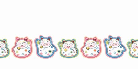 White vector repeat bordern with happy maneki neko cat and pastel ornamental florals. Japan inspired pattern. Comic style. Perfect for paper and textile projects or events. Surface pattern design. Illustration