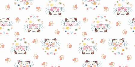 White vector repeat pattern with happy maneki neko cat face, paw print and pastel ornamental florals. Japan inspired pattern. Perfect for paper and textile projects or events. Surface pattern design. Illustration