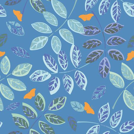 Blue seamless vector repeat pattern with plant leaf, texture and butterfly. Perfect for textile and paper projects. Surface pattern design. 일러스트