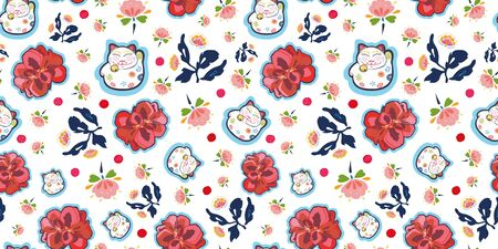 White vector repeat pattern with happy maneki neko cat and red folk art and geranium florals. Japan inspired pattern. Perfect for paper and textile projects or events. Surface pattern design.