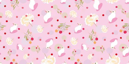 Pink floral pattern with white rabbit, floral and pink dot. Surface pattern design.