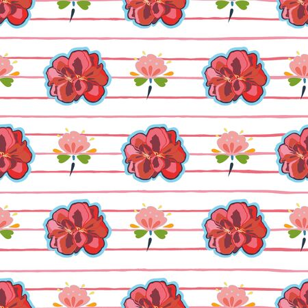 White vector repeat pattern with red geranium blossom, blue folk art florals and red stripe. Japan inspired pattern. Comic style. Perfect for paper and textile projects or events. Surface pattern design.