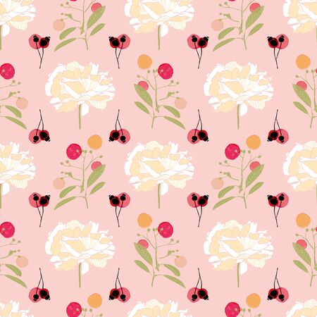 Pink floral pattern with cream peony blossom, green twig and black winter berry. Surface pattern design.