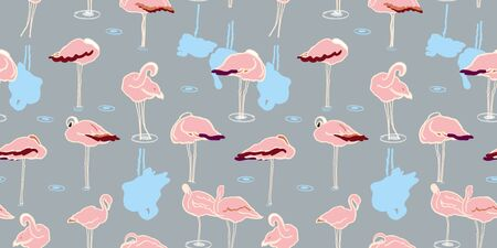 Exotic wildlife flamingo lagoon pattern for nature and bird lovers. Simple yet elegant hand drawn flamingo, in pastel tones on grey. Seamless vector summer design for fashion and stationary.
