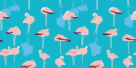 Exotic wildlife flamingo lagoon pattern for nature and bird lovers. Simple yet elegant hand drawn flamingo, in pastel tones on turquoise. Seamless vector summer design for fashion and stationary.