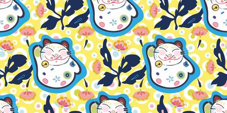 Yellow vector repeat pattern with happy maneki neko cat, pastel dot and pink folk art florals. Japan inspired pattern. Perfect for paper and textile projects or events.