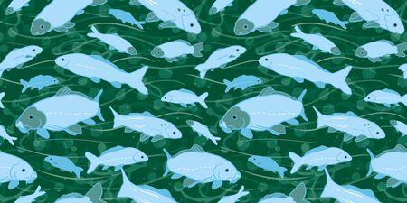 Modèle sans couture de koi de poisson rouge de la vie marine ondulée. Avec des algues, des vagues et des poissons dans des tons de bleu et de vert. Style moderne, graphique, simple. Parfait pour les menus de restaurant, la conception d'emballages, les amoureux de l'eau et de la mer. Décoration d'intérieur et stationnaire.