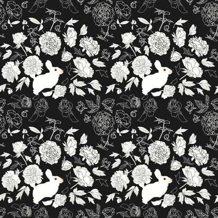 festive lineart peony blossom botanical pattern with bunny, black and white contrast, modern design. All over print. Perfect for wallpaper, stationary, event, wedding, fashion. Elegant florals. Stock Illustratie