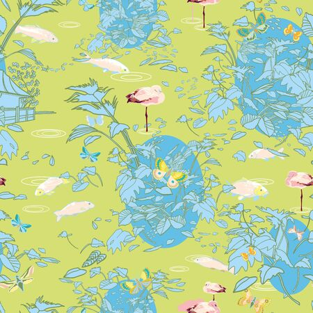 Etching style exotic jungle landscape pattern. Boanical leaf, line art etching style, in pastel blue tones. Perfect for fashion, fabric, wallpaper and packaging design. Home decor, stationary. Foto de archivo - 130393392