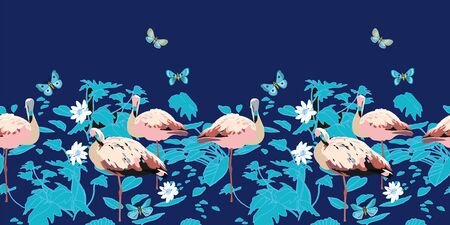 colorful summer night exotic jungle seamless border. Botanical leaf, line art etching style, in pastel blue tones. Cottage lake, fish, butterfly. For fashion, beach life, home decor, stationary. Foto de archivo - 130393394
