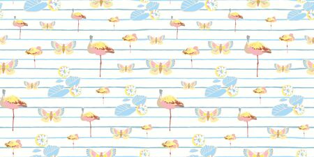 Pastel exotic jungle flamingo stripe seamless summer pattern. Boanical leaf and flamingo bird in pastel green and pink tones. For fashion, fabric, wallpaper, packaging design, stationary. Çizim