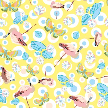 Exotic jungle flamingo pastel dot seamless summer pattern. Boanical leaf and flamingo bird in pastel blue and pink tones. For fashion, fabric, wallpaper, packaging design, stationary. Foto de archivo - 130393402