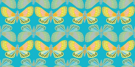 Exotic jungle butterfly seamless summer pattern. Hand drawn butterfly on turquoise backgpound. For fashion, fabric, wallpaper, packaging design, stationary.