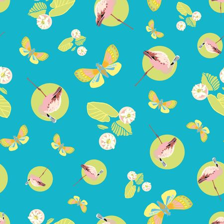 Colorful exotic jungle flamingo pastel seamless summer pattern. Boanical leaf and flamingo bird in pastel green and pink tones. For fashion, fabric, wallpaper, packaging design, stationary.