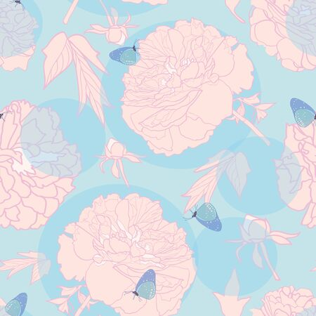 Elegant realistic festive peony botanical pattern, peony blossom in pastel tones with butterfly and circle. All over print. Perfect for wallpaper, stationary, event, wedding, fashion. Elegant florals. Foto de archivo - 130393426