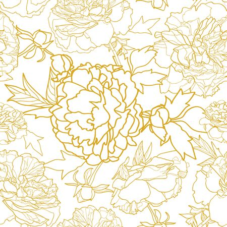 Elegant golden realistic festive peony botanical pattern, peony lien art blossom in pastel tones with butterfly and circle. All over print. Event, stationary, event, wedding, fashion. Illustration